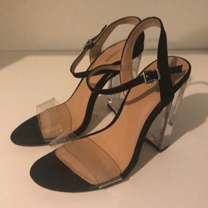 Clear Strappy Heels Black Size 7